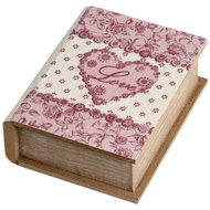 Small Wooden Book Shaped Box With Heart Design