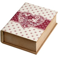 Large Wooden Book Shaped Box With Heart Design