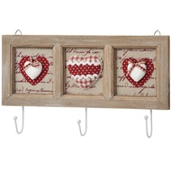 3 Way Coat Hook With Framed Heart Design