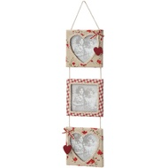 Vertical Hanging 3 Way Photo Frame With Heart Decoration