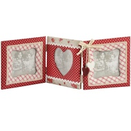Fabric 3 Way Photo Frame Heart Detail