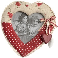 Heart Photo Frame with Hanging Red and White Hearts.