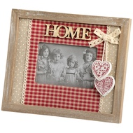 Fabric photo frame with wood surround and 'Home' inscription