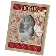 'Home' floral pattern photo frame. Fabric and wood surrounds