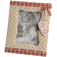 Fabric'portrait' photo frame with hearts and polka dots