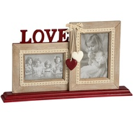 Double Photo Frame on Wooden Base with Love and Heart Motifs