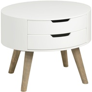 Contour Collection White Two Drawer Side Table