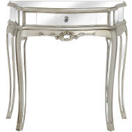Argente Mirrored One Drawer Half Moon Console