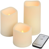 Set of 3 Indoor/Outdoor LED Candles With Remote Control