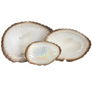 Set of 3 gold and cream clam shell display dishes.