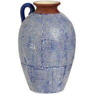 Grecian Style Blue Mosaic Vase With Handle
