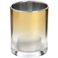 Small Silver Brass Ombre Tea Light Holder