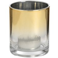 Large Silver Brass Ombre Tea Light Holder
