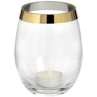 Vase shape glass tea light holder with brass effect rim.