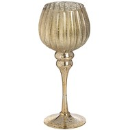 Brass Effect Carved Wine Glass Tea Light Holder