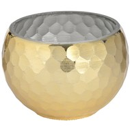 Brass coloured antique textured look round glass tea light holder.