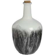 Tall Bulbous white and grey ceramic bottle Vase with cork stopper.