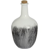Bulbous white and grey ceramic bottle Vase with cork stopper.