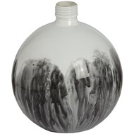 Round white and grey ceramic bottle Vase with cork stopper.