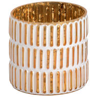 Small gold and white patterned tea light holder.