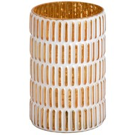 Medium Gold and white patterned tea light holder