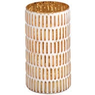 Large gold and white patterned candle holder.