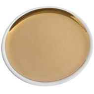 Ceramic gold and white round serving dish