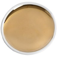 Ceramic gold and white round serving dish coaster