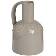 Ceramic Lace Detail Jug In Grey