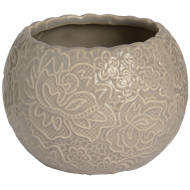 Ceramic round lace detail tea light holder in grey