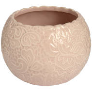 Ceramic Round Lace Detail Tea Light Holder In Peach
