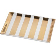 White and gold striped serving tray.