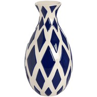 Navy And White Diamond Pattern Vase.