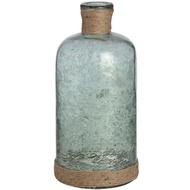 Metallic Teal Glass Bottle Vase with Natural Rope
