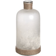 White Frosted Glass Bottle Vase With Natural Rope