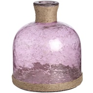 Metallic Rose Glass Domed Vase With Natural Rope