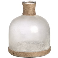 White Frosted Glass Domed Vase With Natural Rope