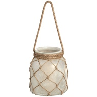 White Frosted Large Glass Lantern With Natural Rope