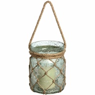 Metallic Teal Small Glass Lantern with Natural Rope