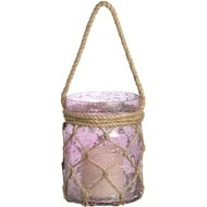 Metallic Rose Small Glass Lantern With Natural Rope