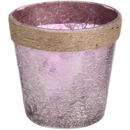 Metallic Rose glass Plant Pot with Natural Rope
