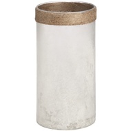 White Frosted Glass Vase With Natural Rope