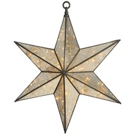 Large Antique Silver Hanging Illuminated Star Mirror