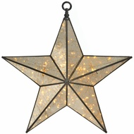 Small Antique Silver Hanging Illuminated Star Mirror