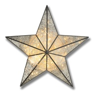 Antique Silver Small Illuminated Star Wall Mirror