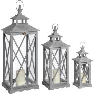 Set Of Three Wooden Lanterns With Traditional Cross Section