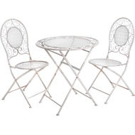 Cream Metal Table + 2 Chairs