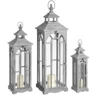 Set Of Three Wooden Lanterns With Archway Design