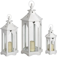 Set Of Three White Hexagonal Lanterns With Large Glass Windo