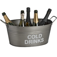 'Cold Drinks' bucket in antique pewter